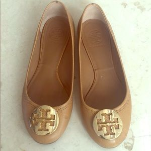 Tory Burch tan flats with gold buckle size 7.5